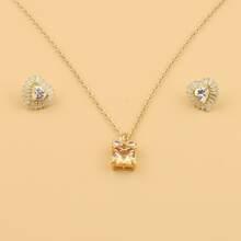 1 pieza collar con piedra preciosa con 1 par pendientes con tachuela