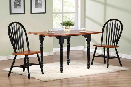 Sunset Selections Collection DLU-TLD3448-820-BCH3PC 3 Piece Drop Leaf Dining Set with Rectangular Table + 2 Arrowback