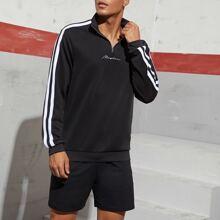 Pullover mit Buchstaben Stickereien und Streifen auf Band & Shorts Set