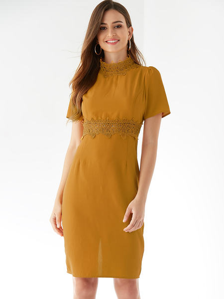 YOINS Yellow Crochet Lace Embellished Round Neck Dress