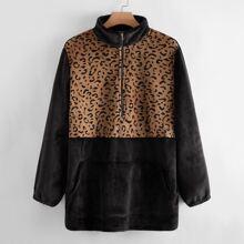 Plus Half Zip Contrast Leopard Velvet Sweatshirt