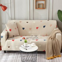 Heart Print Sofa Cover Without Cushion