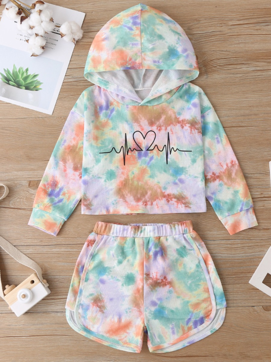LW lovely Stylish Hooded Collar Tie-dye Multicolor Girl Two-piece Shorts Set