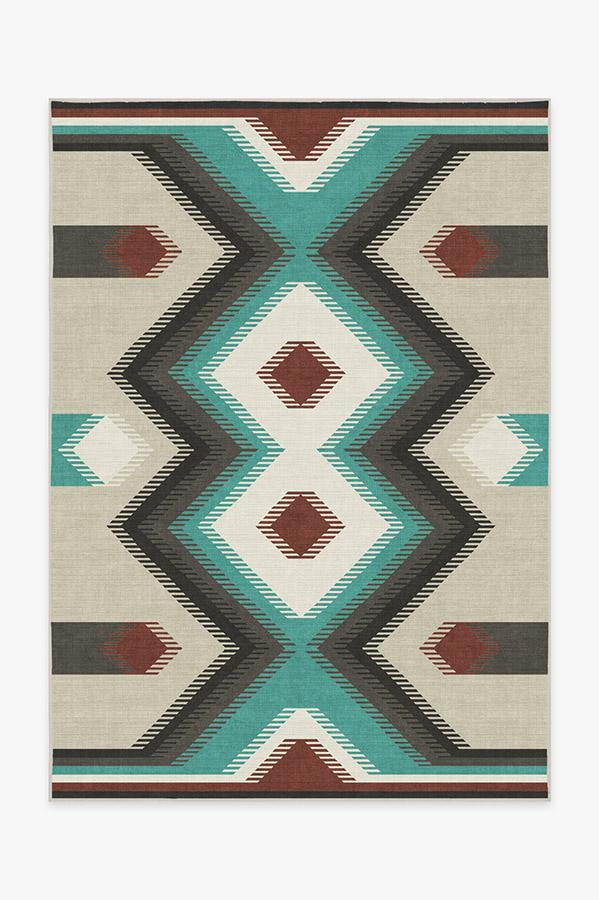 Washable Rug Cover & Pad | Anza Turquoise Rug | Stain-Resistant | Ruggable | 5'x7'