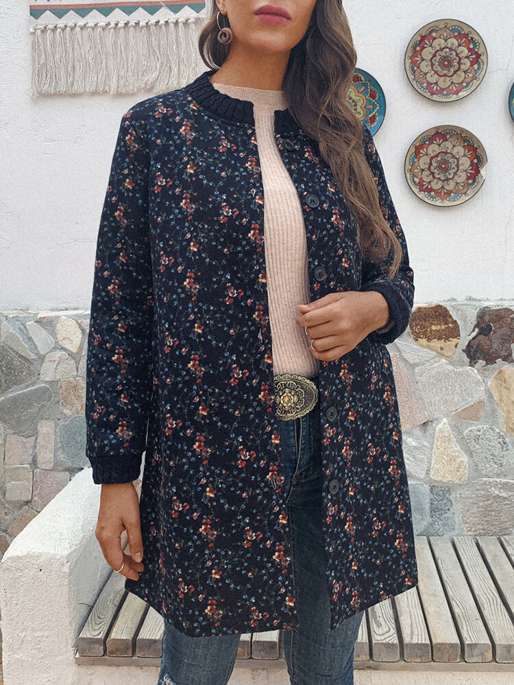 Floral Print Long Sleeve Plus Size Coat with Pockets