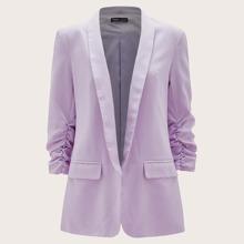 Shawl Collar Ruched Sleeve Flap Detail Solid Blazer