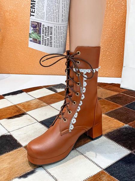 Milanoo Botas de Lolita Cuero de PU punta redonda con cordones Calzado de Lolita