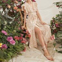 Ruffle Armhole Belted Wrap Hem Floral Dress