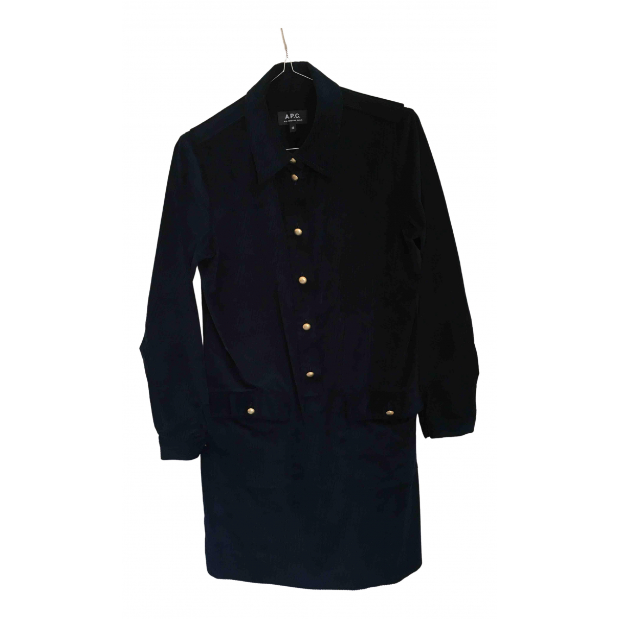 Apc - Robe   pour femme en coton - bleu