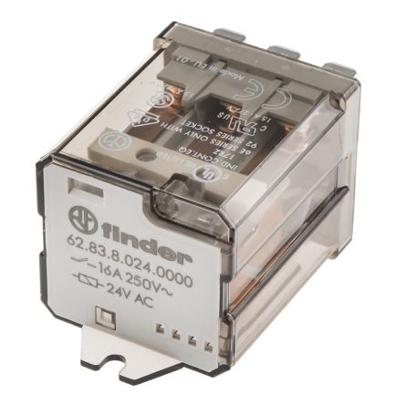 Finder , 24V ac Coil Non-Latching Relay 3PDT, 16A Switching Current Flange Mount, 3 Pole
