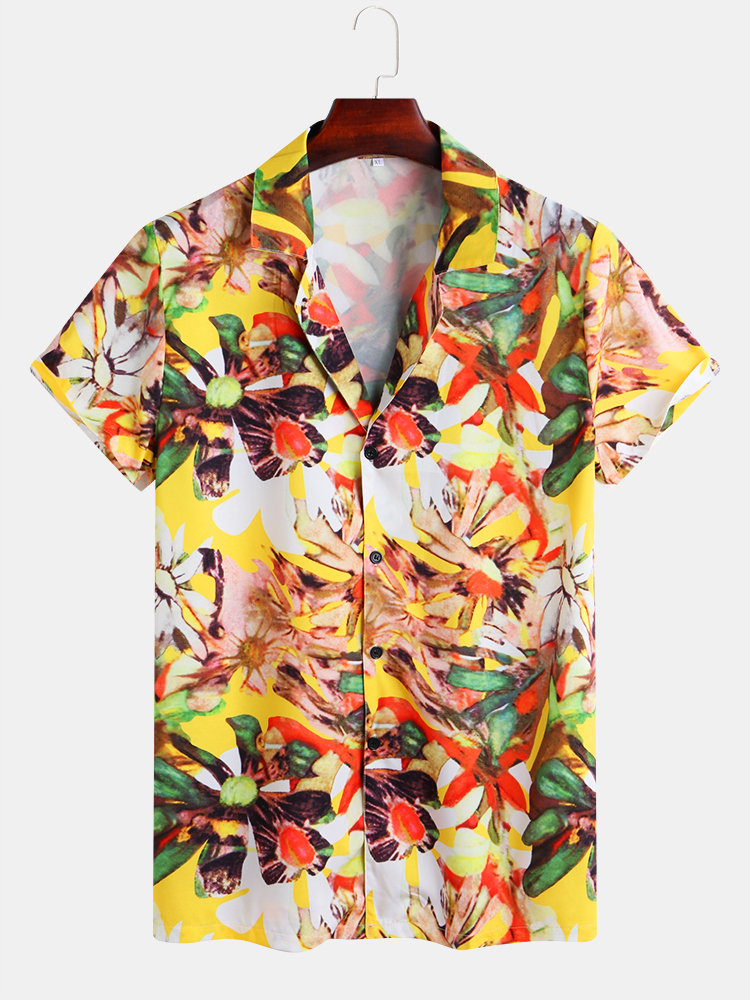 Mens Hawaiian Floral Printed Beachwear Short Sleeve Casual Shirt