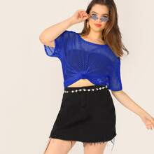 Plus Fishnet Mesh Sheer Top Without Bandeau