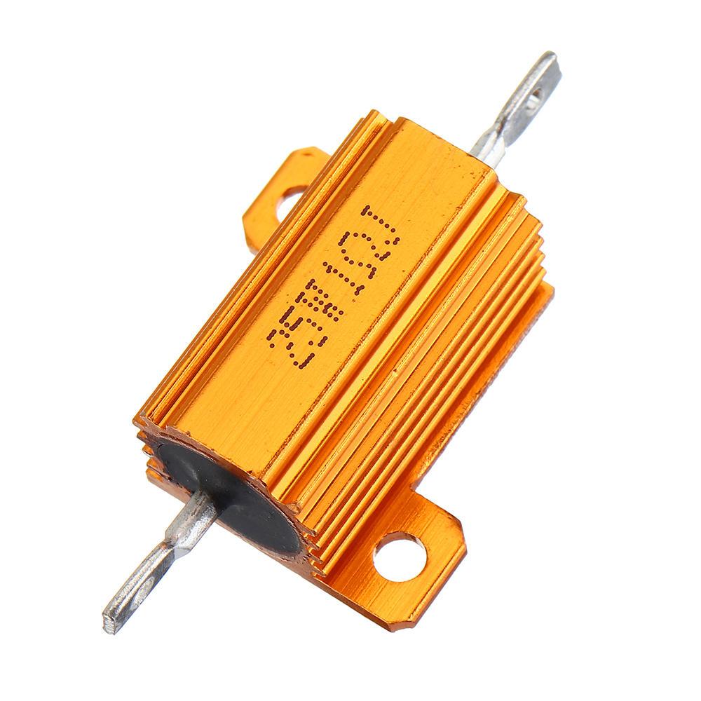 RX24 25W 1R 1RJ Metal Aluminum Case High Power Resistor Golden Metal Shell Case Heatsink Resistance Resistor