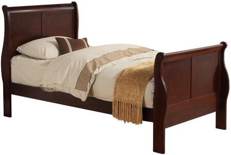 Louis Philippe Collection 23760T Twin Size Bed with Low Profile Footboard  Sleigh Headboard  Solid Pine Wood and Gum Veneer Materials in Cherry
