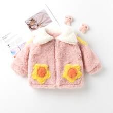 Chaqueta teddy de color combinado con cremallera con aro O