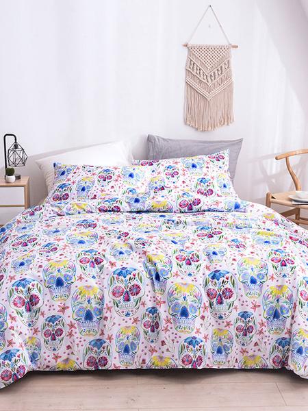 Milanoo Bedding Set 3-Piece Polyester Fiber White Bed Sheet Duvet Cover Pillowcase Beddingroom Supplies