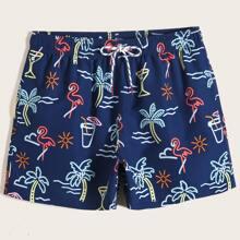 Men Flamingo & Tropical Print Drawstring Waist Swim Trunks