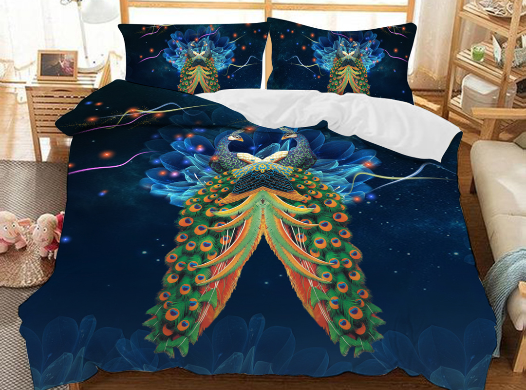 Night Peacock 3D Animal Duvet Cover Sets Soft 3-Piece Soft Durable Bedding Sets with 2 Pillowcases