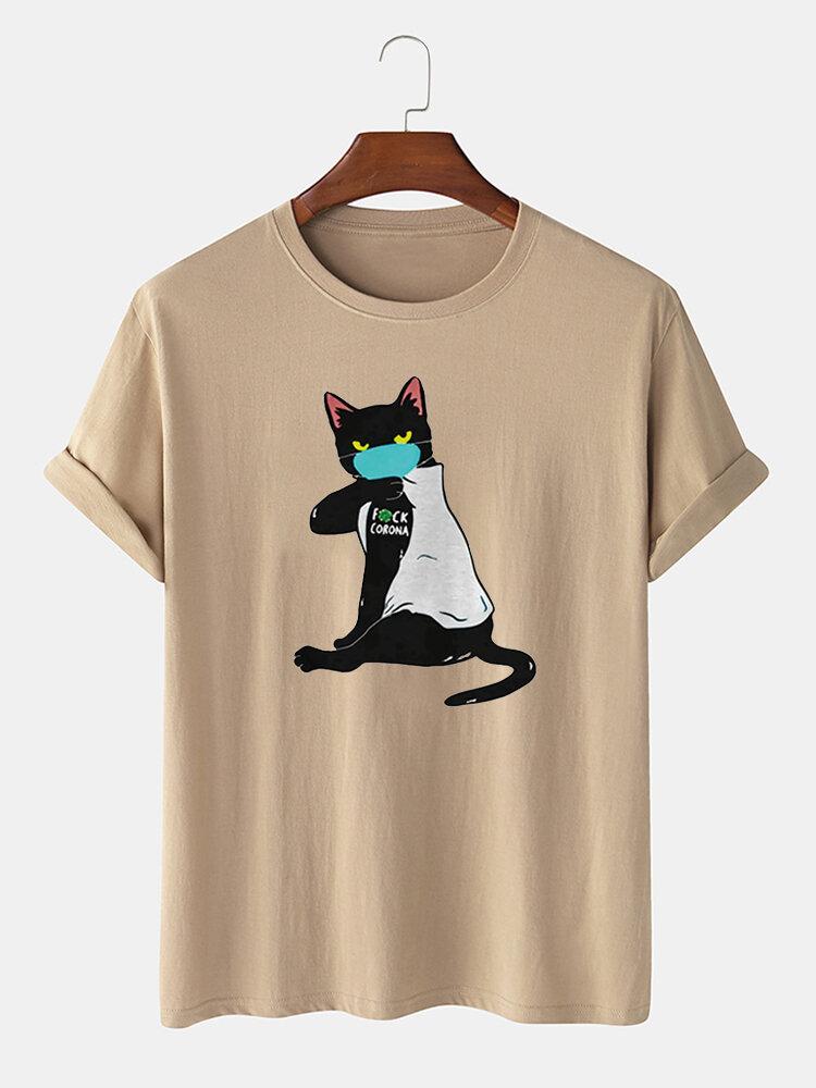 Men 100% Cotton Fun Cat Print Casual Round Neck T-shirt