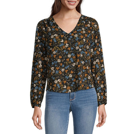 a.n.a Womens V Neck Long Sleeve Blouse, Small , Black