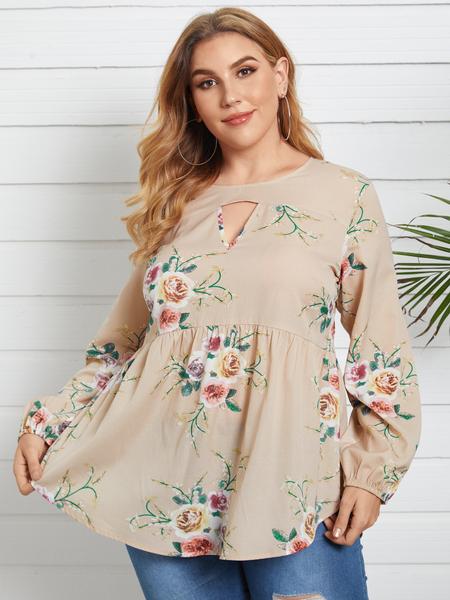 YOINS Plus Size Crew Neck Floral Print Cut Out Long Sleeves Blouse