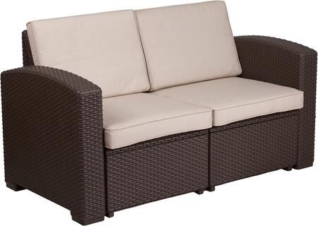 DAD-SF1-2-GG Chocolate Brown Faux Rattan Loveseat with All-Weather Beige