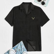 Men Notch Collar Embroidery Detail Shirt