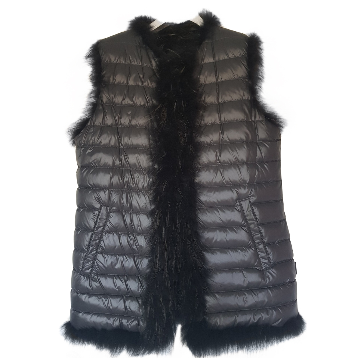 Moncler Sleeveless Grey Raccoon coat for Women 50-52 IT
