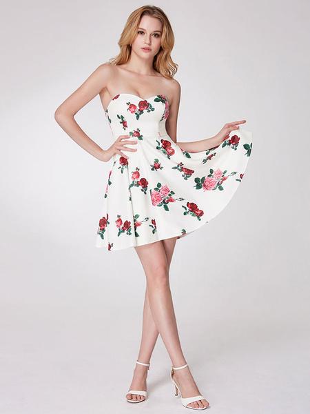 Milanoo Short Prom Dresses White Floral Printed Party Dresses Strapless Sweetheart Neck Mini Graduation Dress
