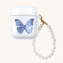 AirPods Etui mit Schmetterling Muster und Perlen Kette