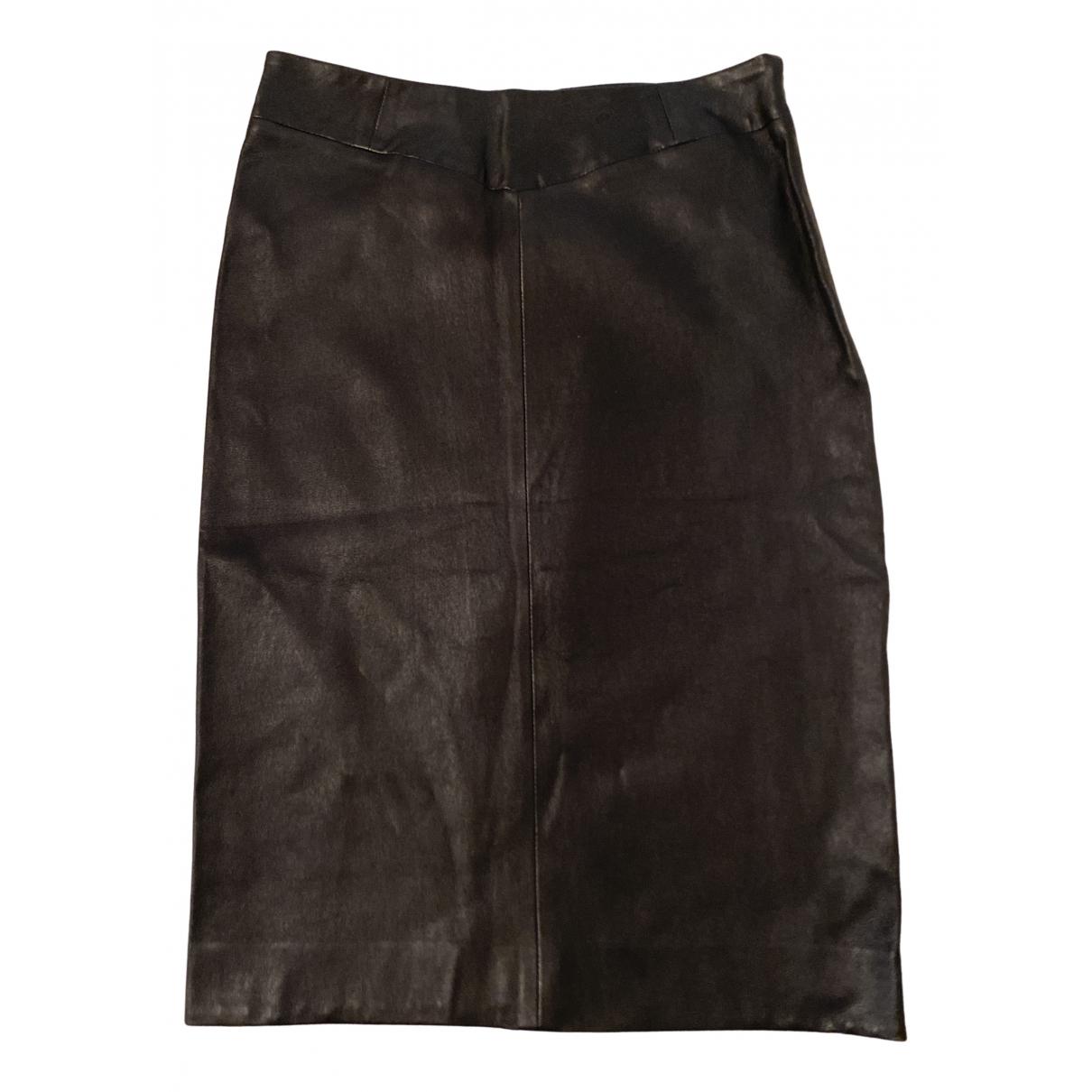 Joseph - Jupe   pour femme en cuir - noir