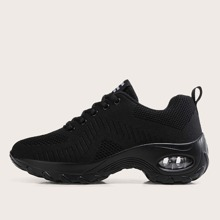 Lace-up Front Knit Chunky Sneakers