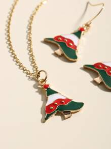 1pc Christmas Tree Charm Necklace & 1pair Earrings