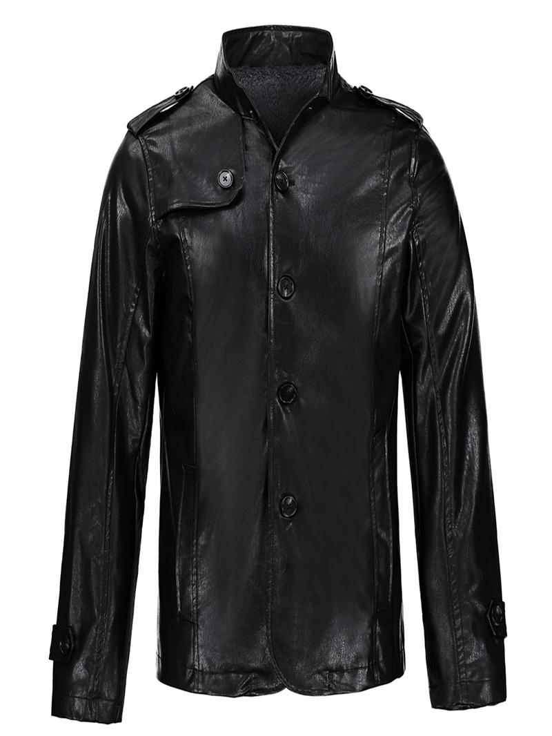 Ericdress Stand Collar PU Leather Thicken Slim Mens Jacket