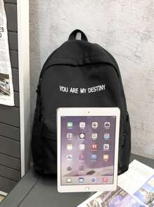 Letter Graphic Large Capacity Backpack