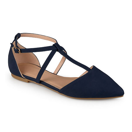 Journee Collection Womens Keiko Ankle-Strap Ballet Flats, 8 Medium, Blue
