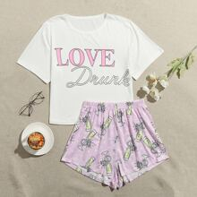 Letter And Graphic Print Pajama Set