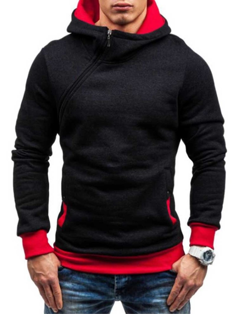 Ericdress Artificial Fleece Color Block Zipper Style Men's Hoodies