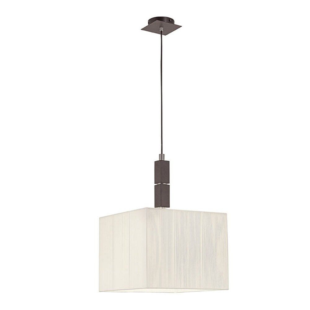 Eglo Tosca 1-Light Antique Brown Square Pendant with Beige Shade (Antique Brown)