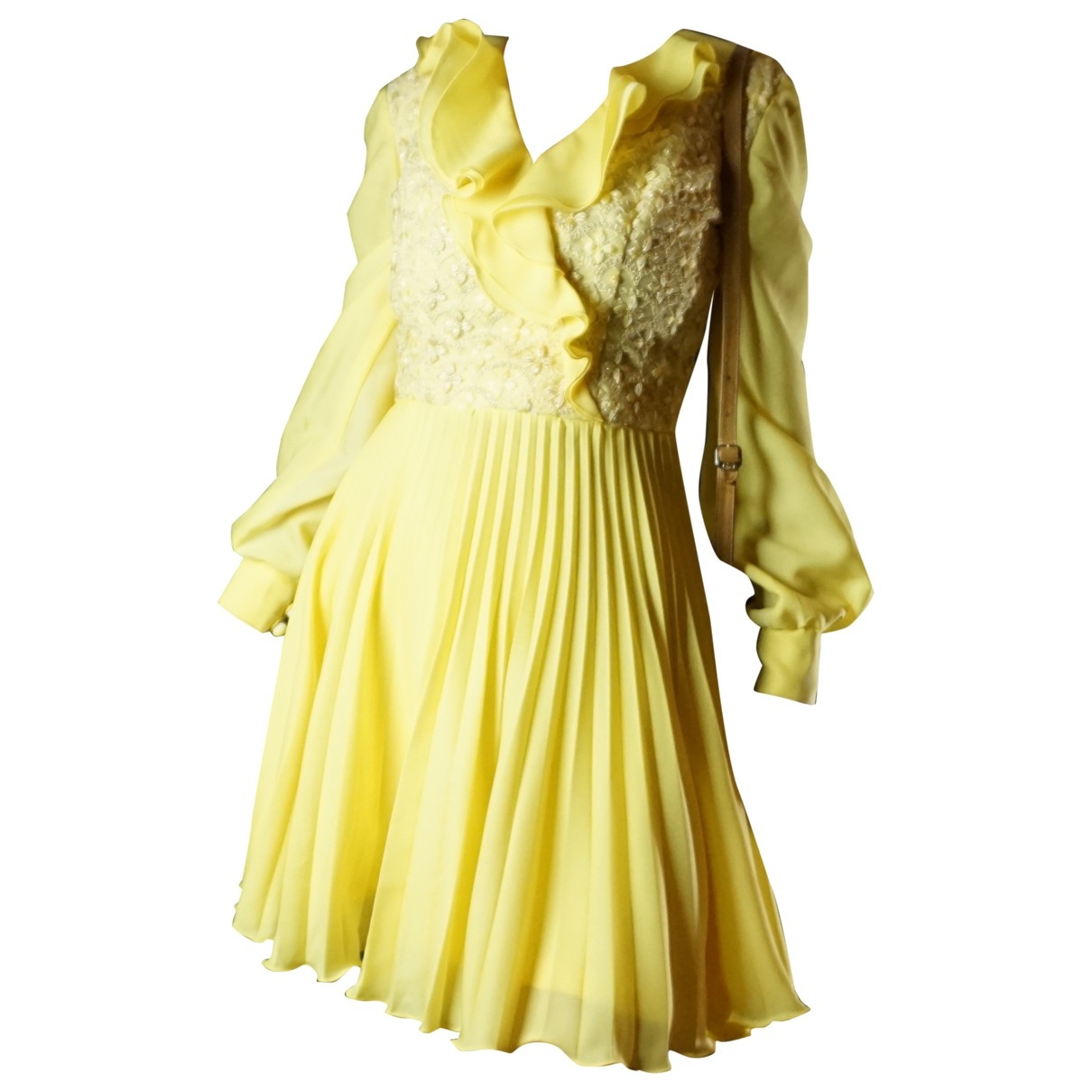 Non Signé / Unsigned Hippie Chic Yellow dress for Women M International