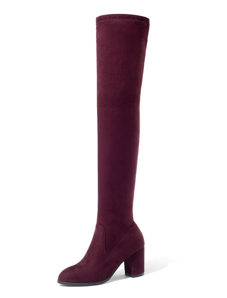 Milanoo Thigh High Boots Womens Elastic Fabric Round Toe Chunky Heel Stretch Over The Knee Boots
