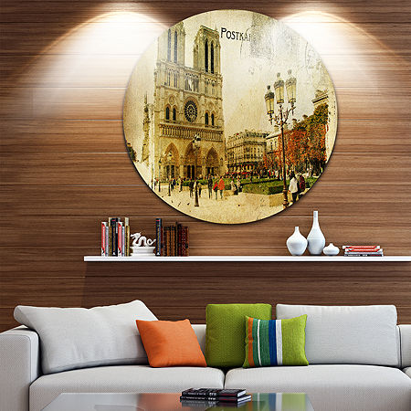 Design Art Notre Dame Cathedral Vintage Card DiscContemporary Circle Metal Wall Art, One Size , Green