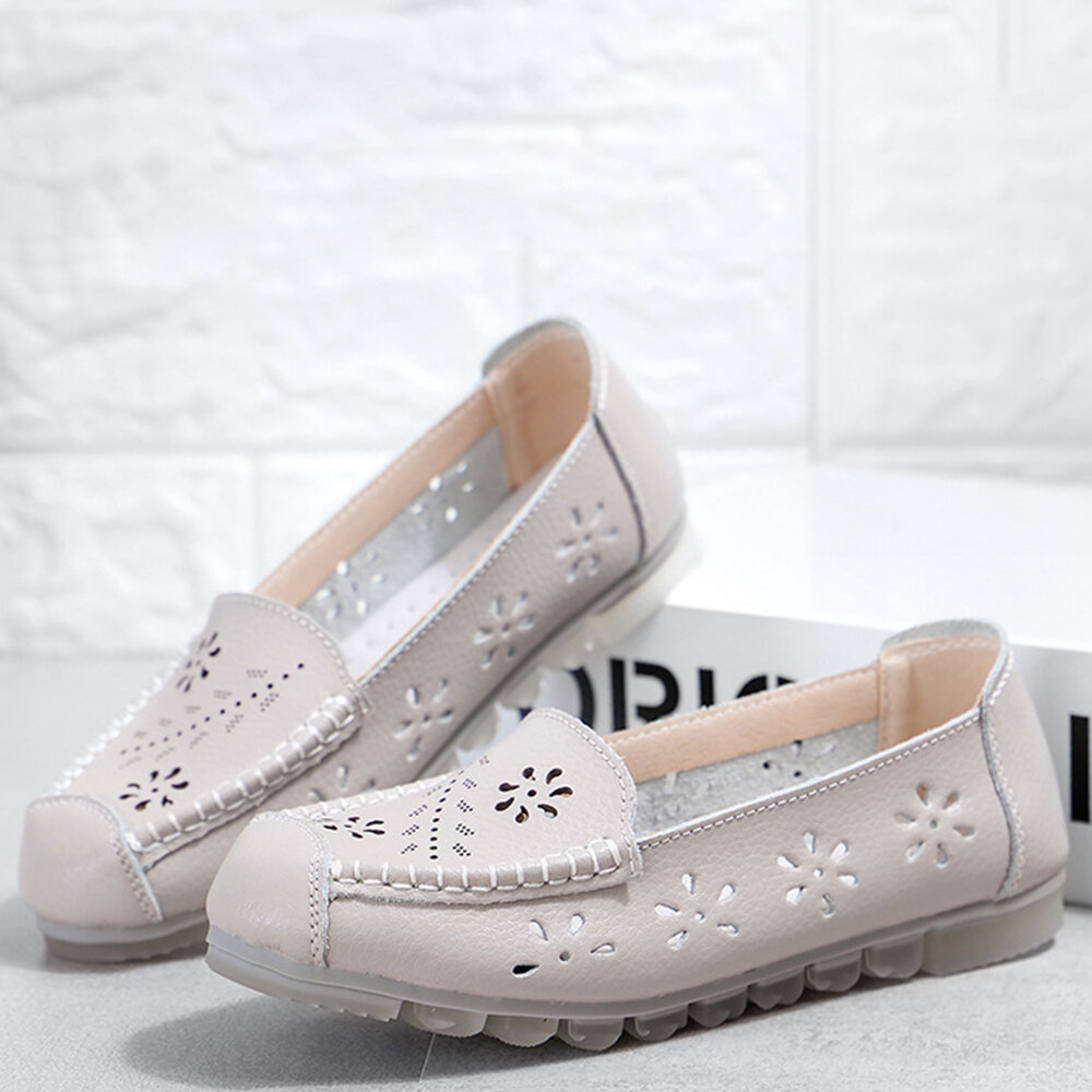 Leather Hollow Out Slip On Casual Flat Shoes For Women