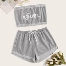 Letter Graphic Bandeau With Shorts PJ Set