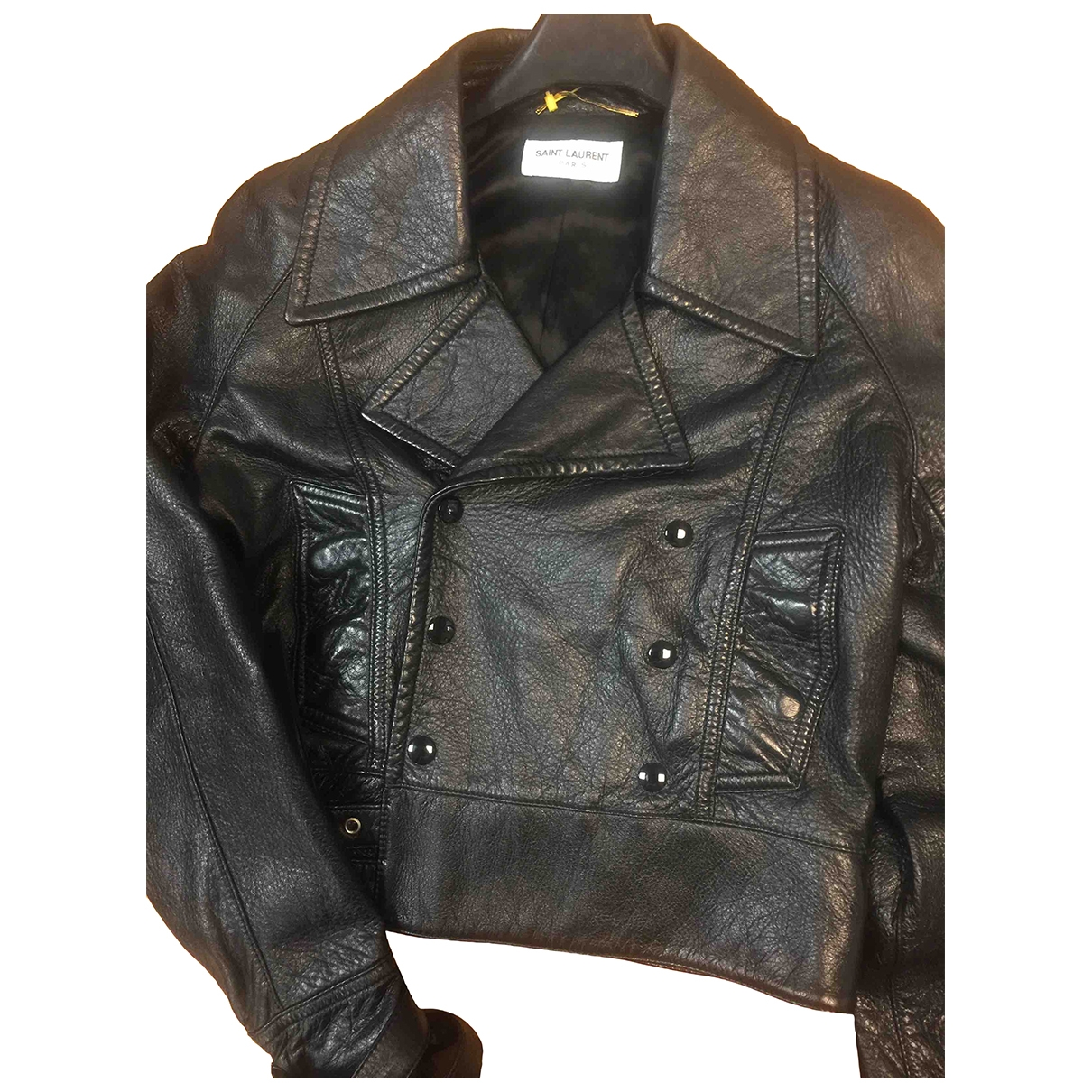 Saint Laurent \N Black Leather jacket for Women 36 FR