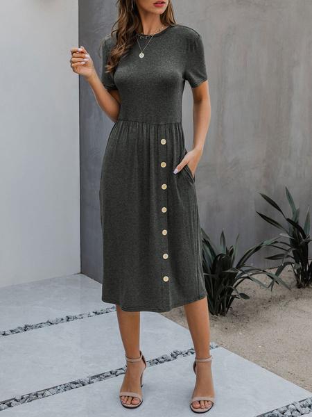 Milanoo Vestido de verano Cuello joya Mangas cortas Vestido de playa gris oscuro