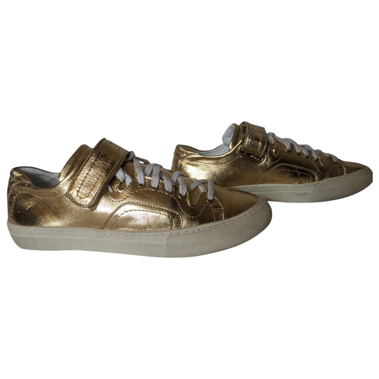 Pierre Hardy - Baskets   pour homme en cuir verni - dore