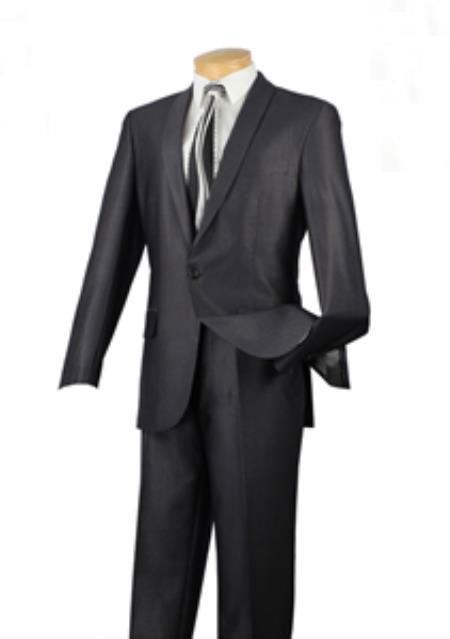 Mens 1 Button patterned Solid Shawl Lapel Slim Fit Suit Charcoal