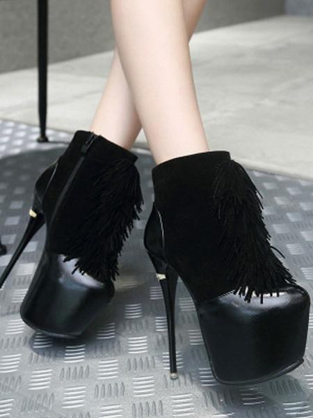 Milanoo Women Sexy High Heels Red Round Toe Suede Leather Upper Sexy Stiletto Heel