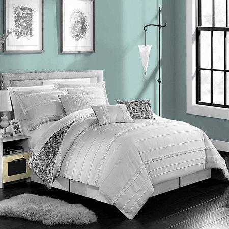 Chic Home Elle Midweight Embroidered Comforter Set, One Size , White